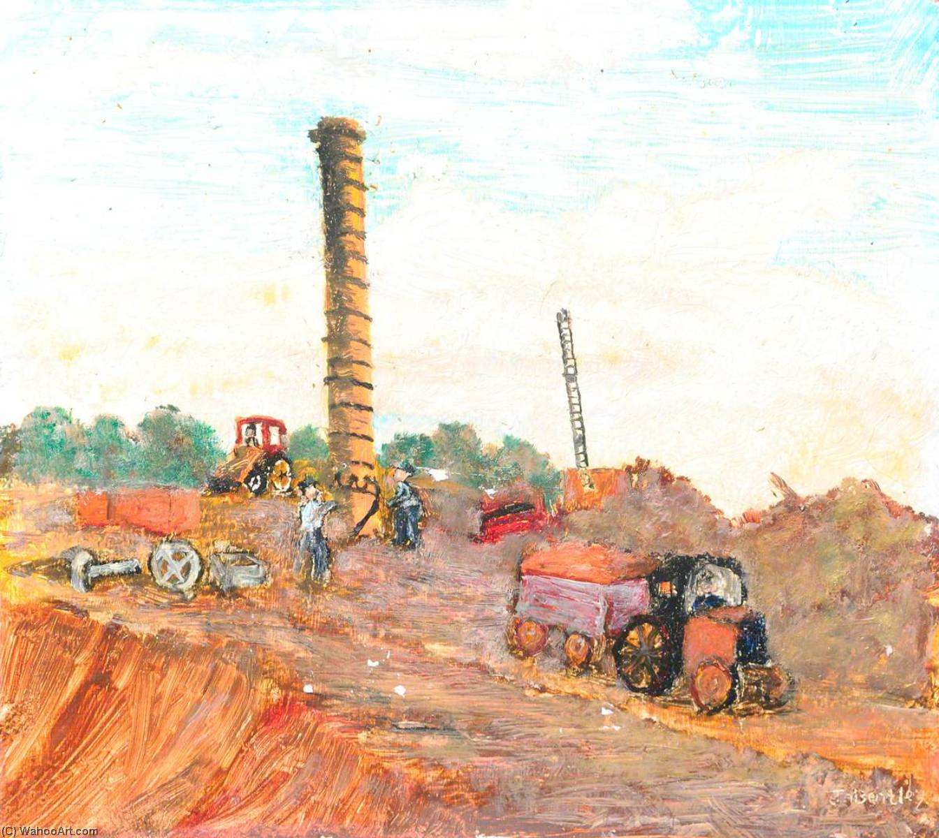 The Last Day of Demolition of Caterall`s Trap Brickworks by James Bentley | Oil Painting | WahooArt.com