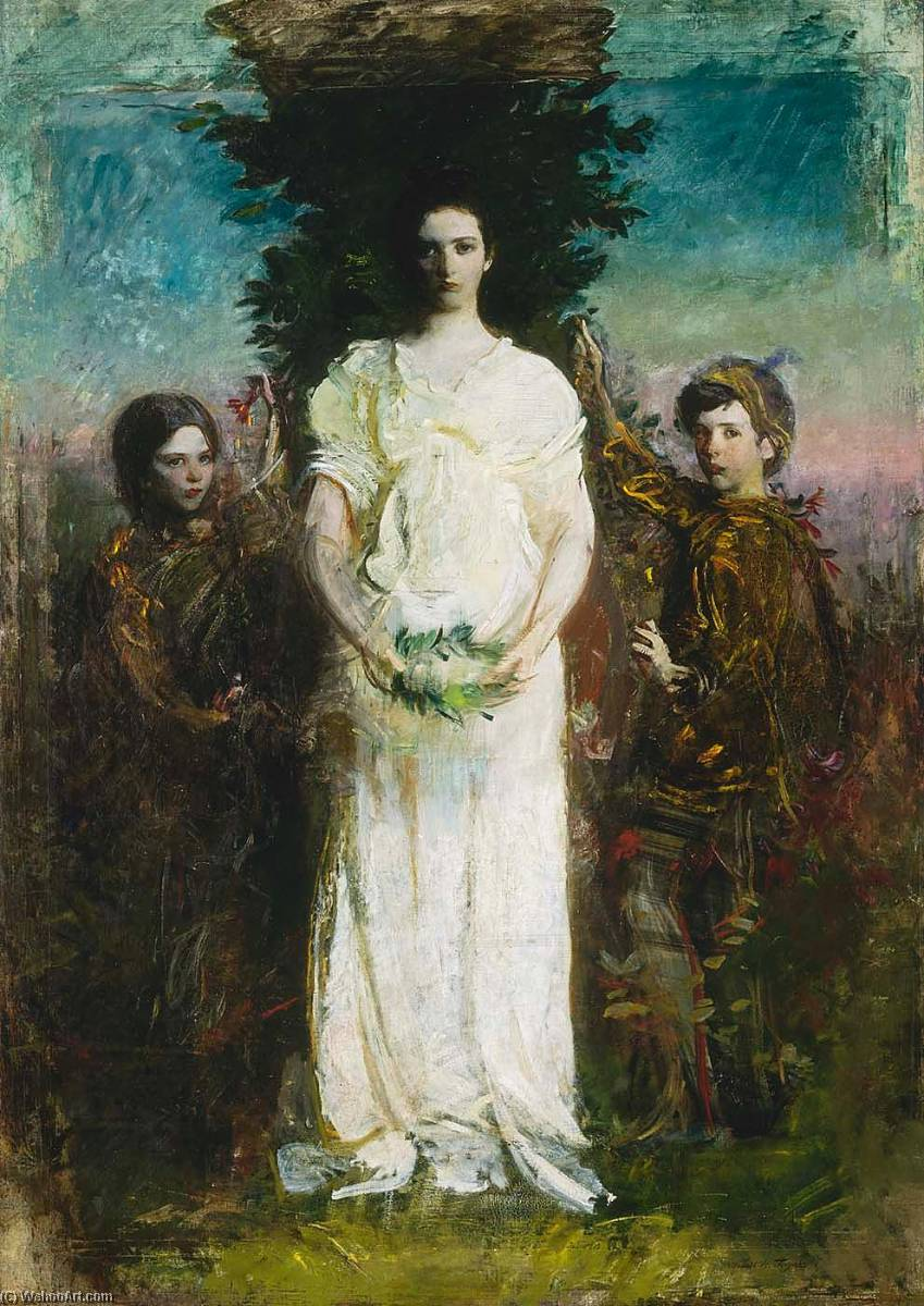 My Children (Mary, Gerald, and Gladys Thayer), 1897 by Abbott Handerson Thayer (1849-1921, United States) | Famous Paintings Reproductions | WahooArt.com
