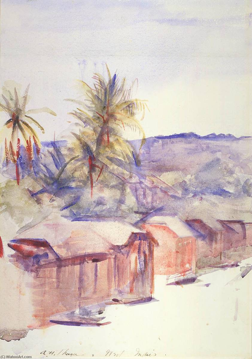 Village Street, Dominica, Watercolour by Abbott Handerson Thayer (1849-1921, United States)