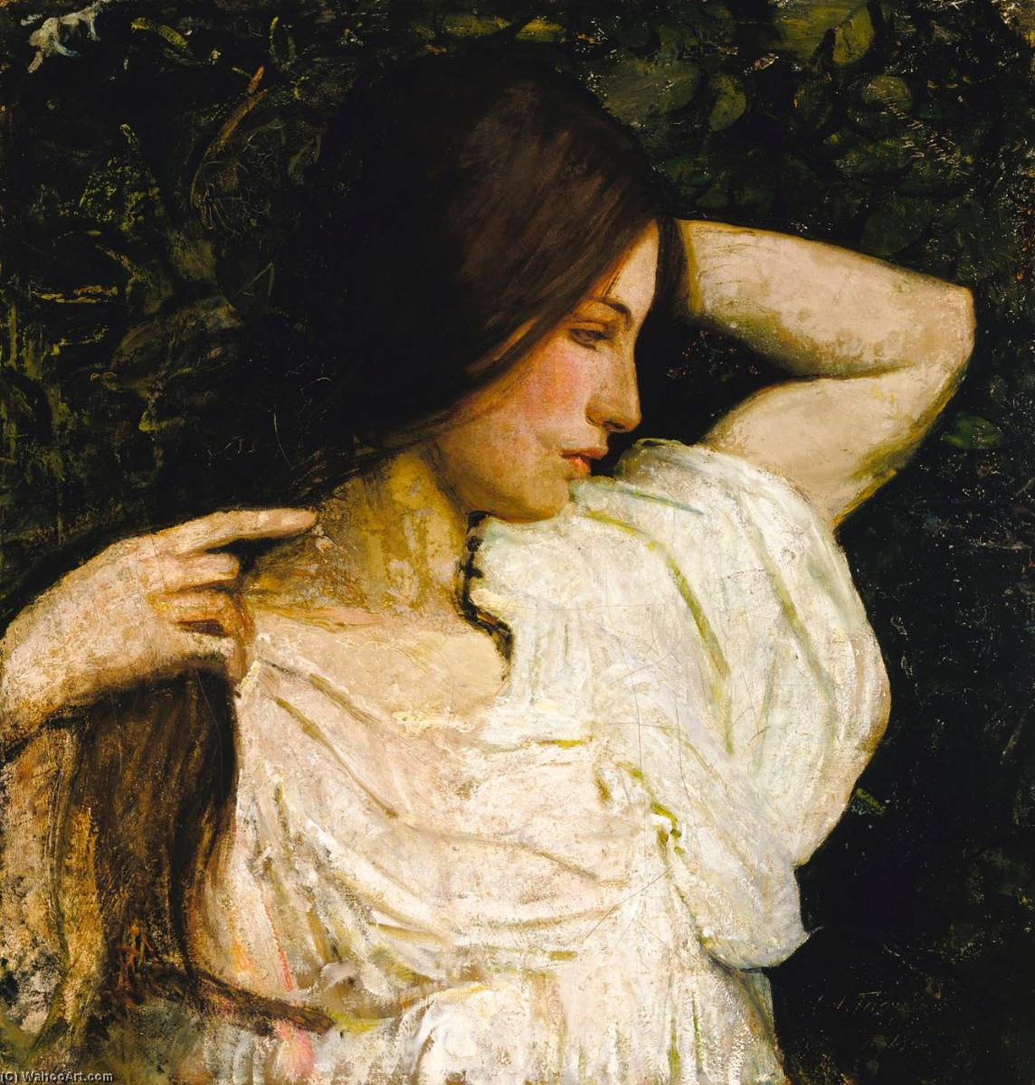 Girl Arranging Her Hair, 1919 by Abbott Handerson Thayer (1849-1921, United States) | Reproductions Abbott Handerson Thayer | WahooArt.com