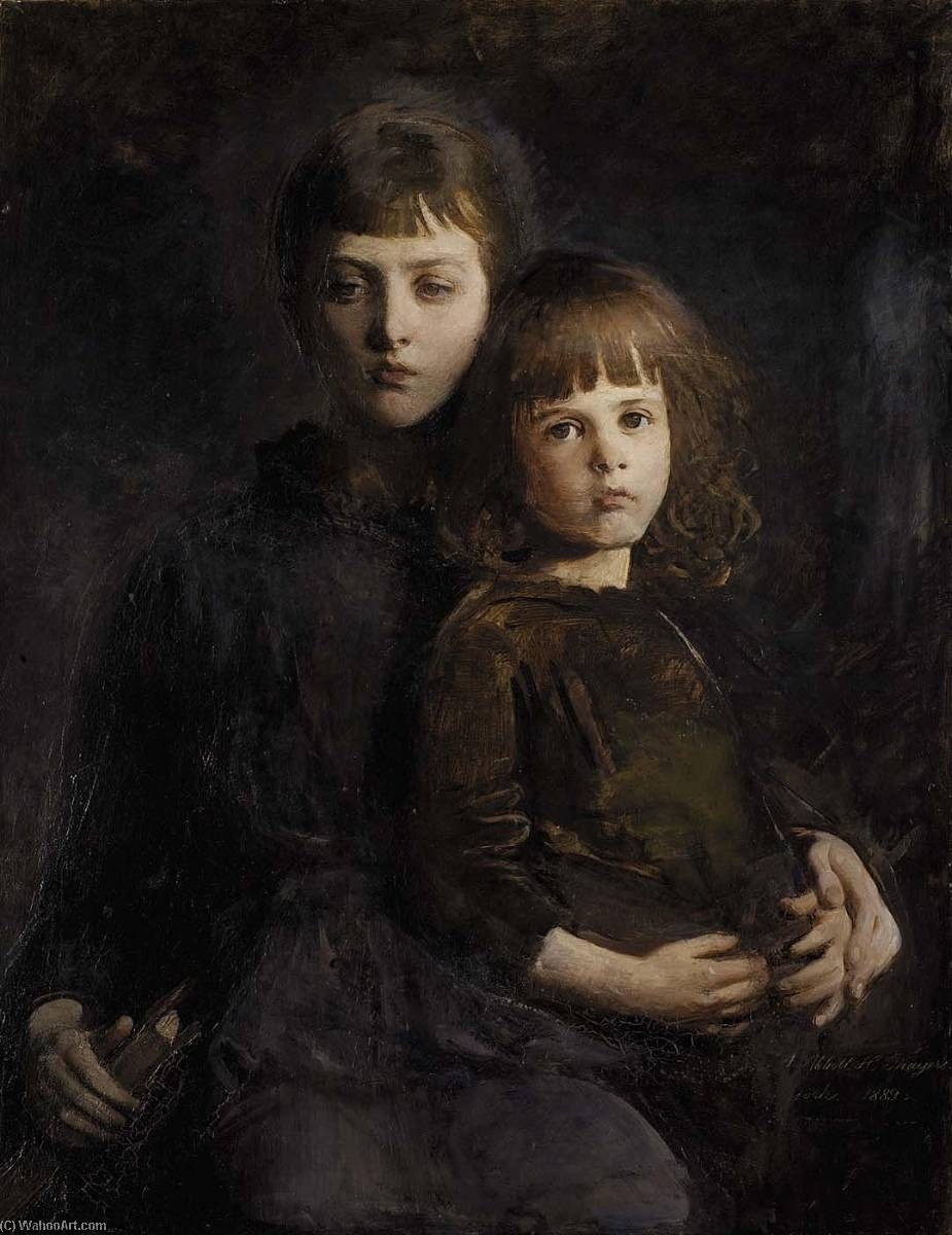 Brother and Sister (Mary and Gerald Thayer), Oil On Canvas by Abbott Handerson Thayer (1849-1921, United States)