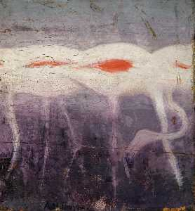 Abbott Handerson Thayer - White Flamingoes, study for book Concealing Coloration in the Animal Kingdom