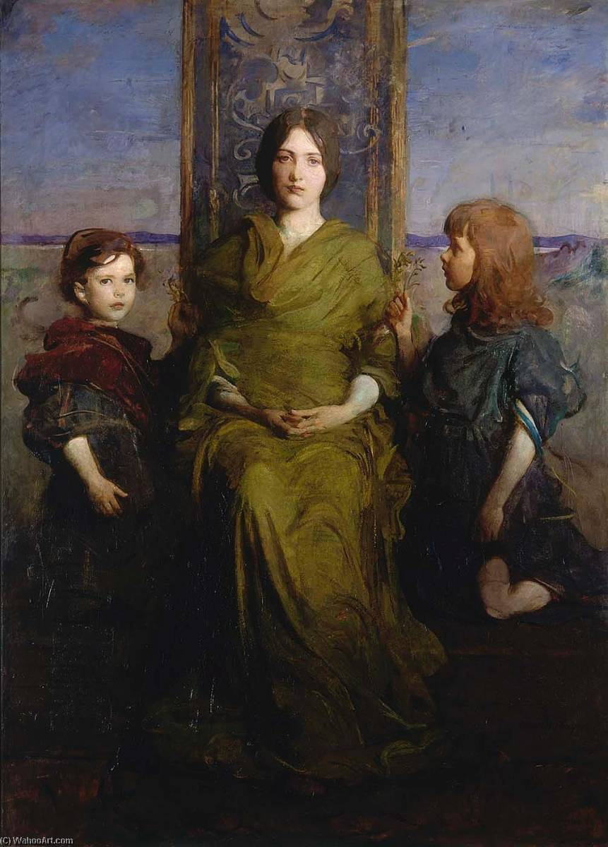Virgin Enthroned, 1891 by Abbott Handerson Thayer (1849-1921, United States) | Oil Painting | WahooArt.com