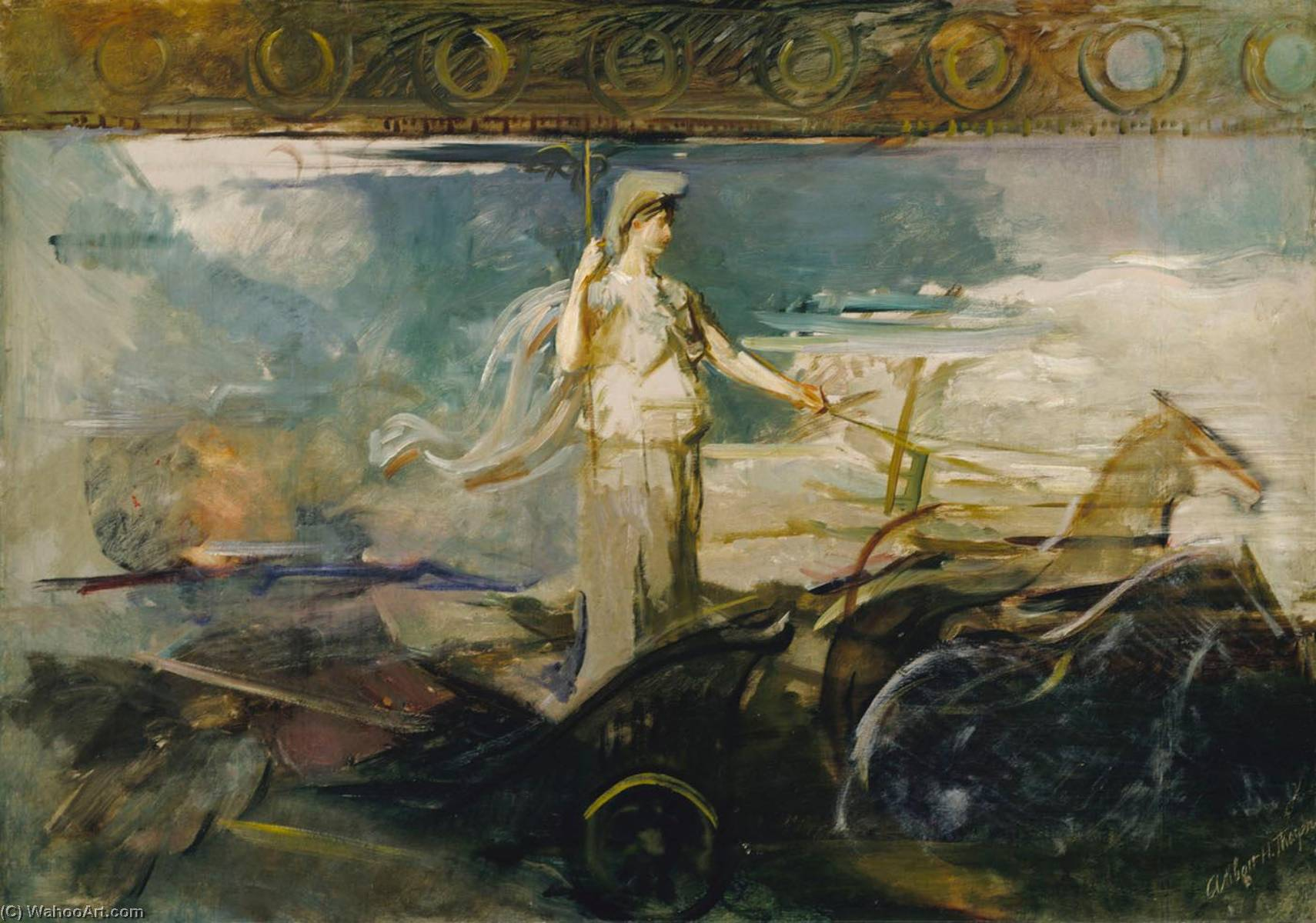 Minerva in a Chariot, Oil On Canvas by Abbott Handerson Thayer (1849-1921, U.S)