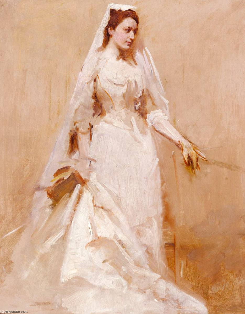 A Bride, 1895 by Abbott Handerson Thayer (1849-1921, United States) | Oil Painting | WahooArt.com