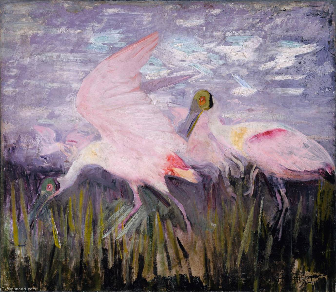 Roseate Spoonbills, study for book Concealing Coloration in the Animal Kingdom, Oil by Abbott Handerson Thayer (1849-1921, United States)