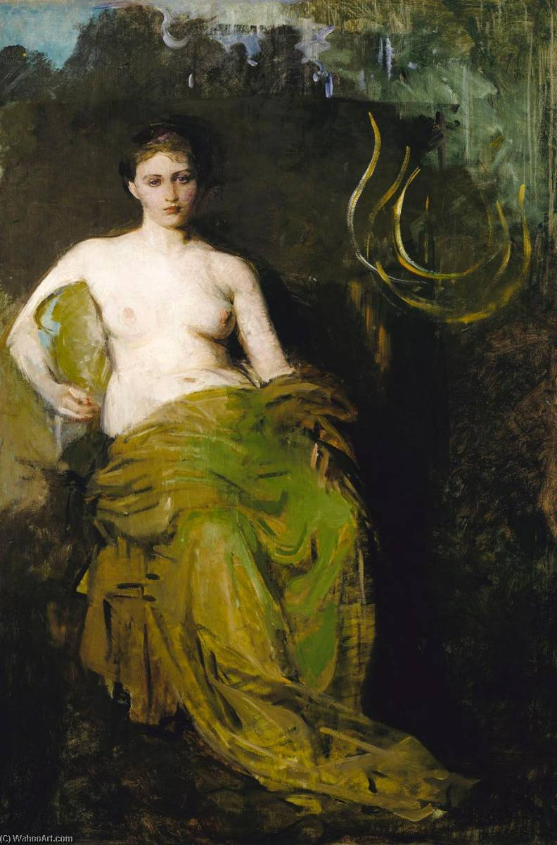 Half Draped Figure, 1885 by Abbott Handerson Thayer (1849-1921, United States) | Museum Art Reproductions Abbott Handerson Thayer | WahooArt.com