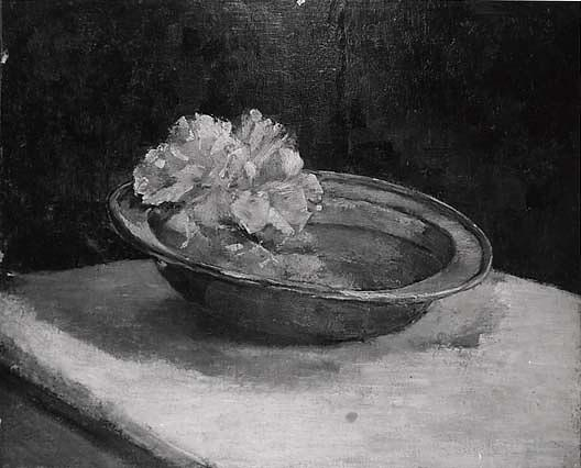 Still Life Peonies and Pewter, (painting), Oil On Canvas by Abbott Handerson Thayer (1849-1921, United States)