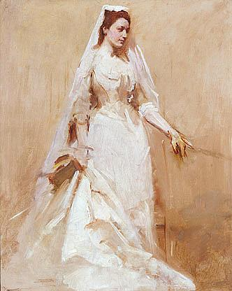 A Bride, (painting), 1895 by Abbott Handerson Thayer (1849-1921, United States) | WahooArt.com