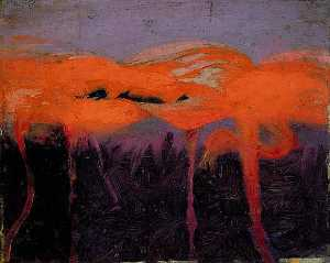 Abbott Handerson Thayer - Red Flamingoes, study for book Concealing Coloration in the Animal Kingdom, (painting)