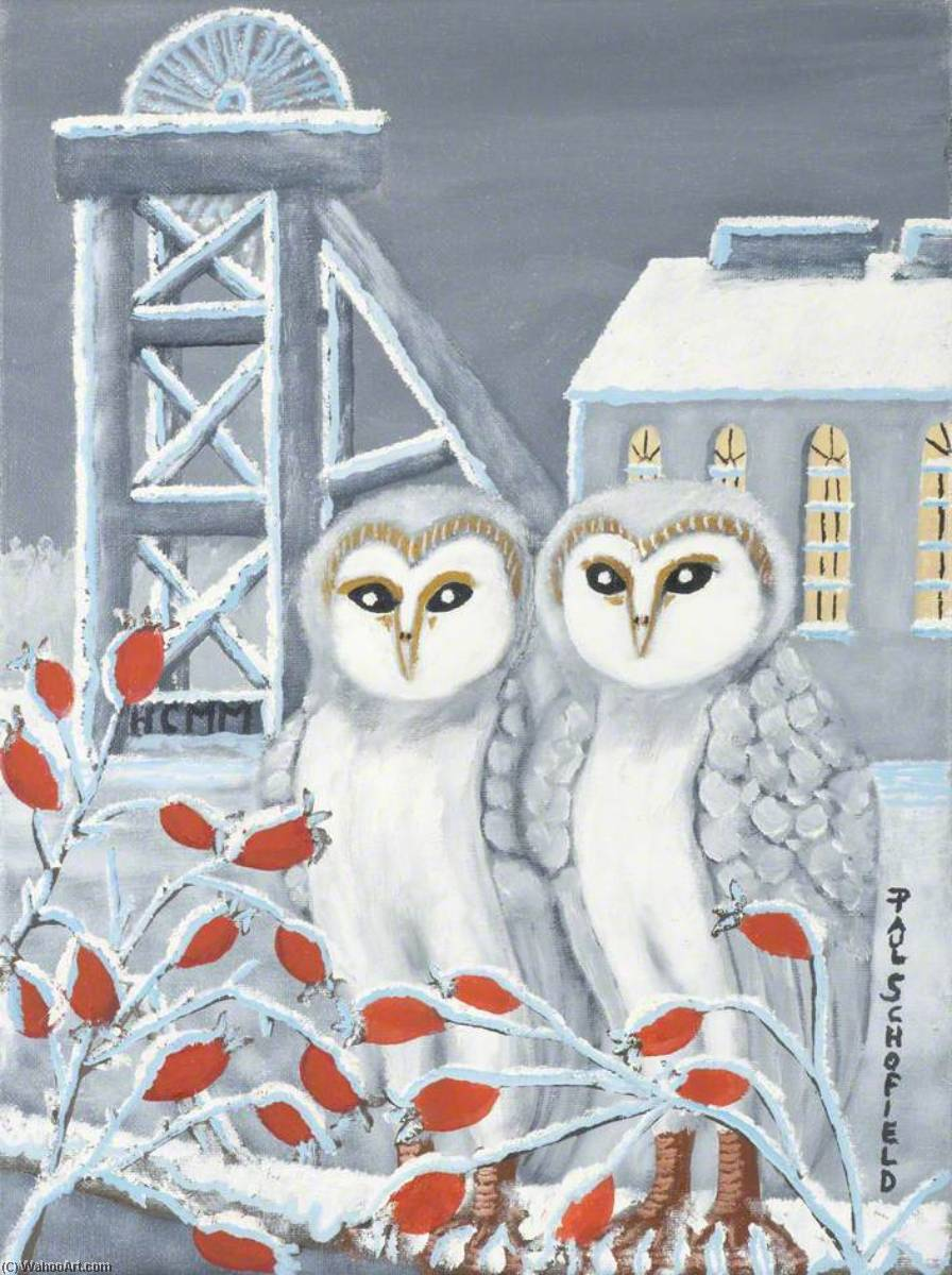 Snowy Owls by Paul Schofield | Famous Paintings Reproductions | WahooArt.com