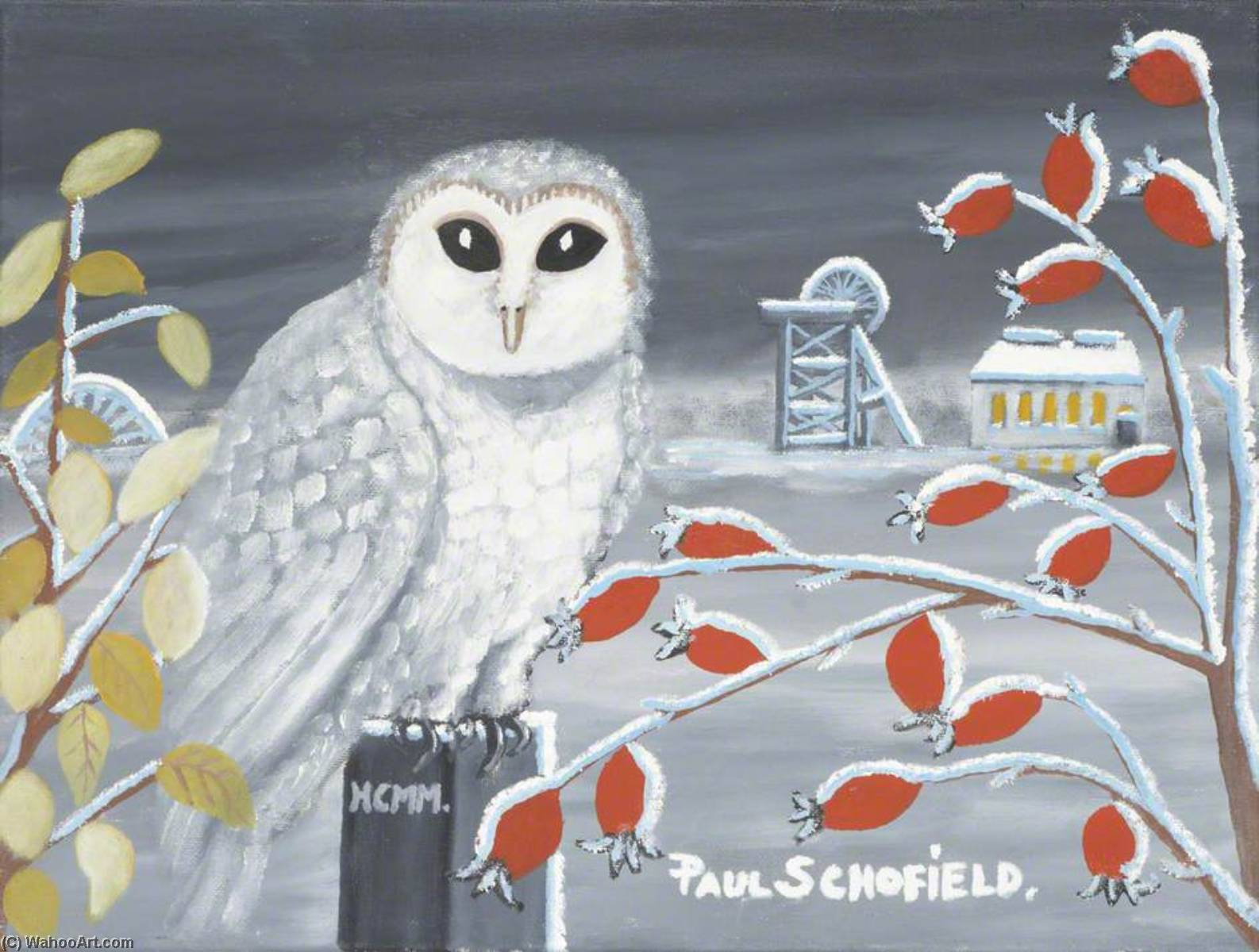 Snowy Owl II by Paul Schofield | Famous Paintings Reproductions | WahooArt.com