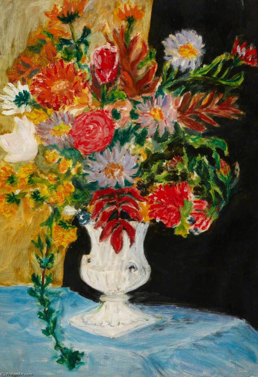 Floral Still Life, Oil On Canvas by Myfanwy Baker