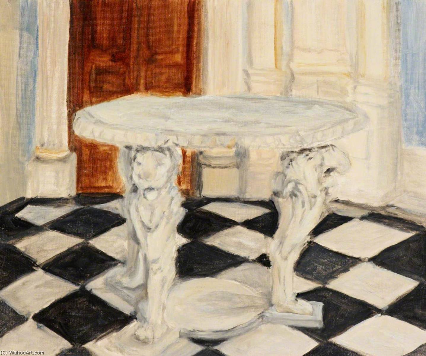 Marble Table at Orleans House, Twickenham, Oil by Myfanwy Baker