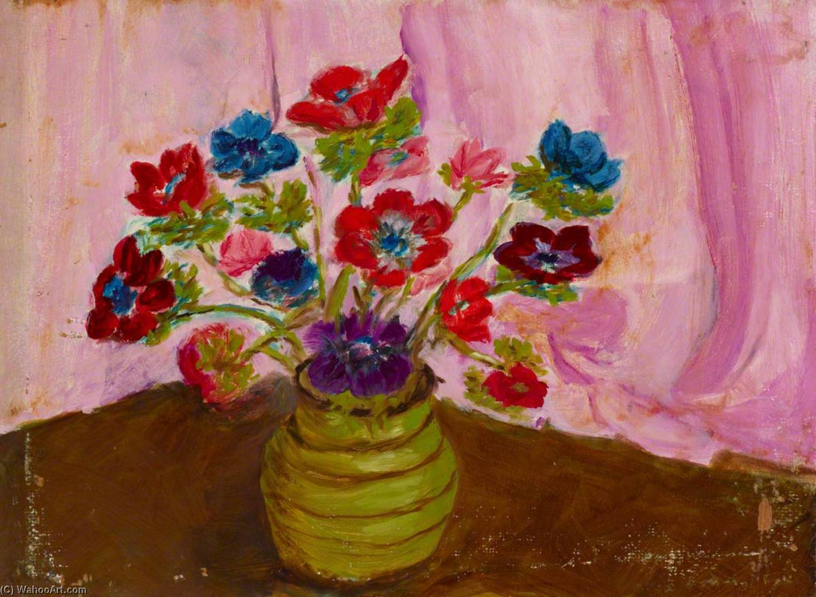 Vase of Flowers, Oil On Canvas by Myfanwy Baker