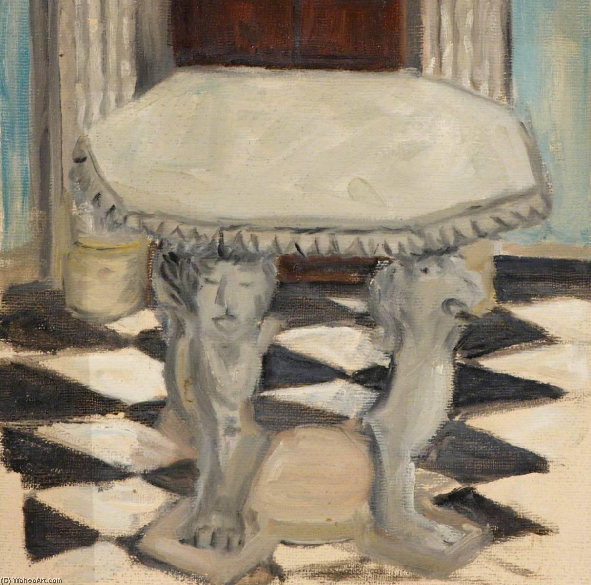 Still Life with Table, Oil by Myfanwy Baker