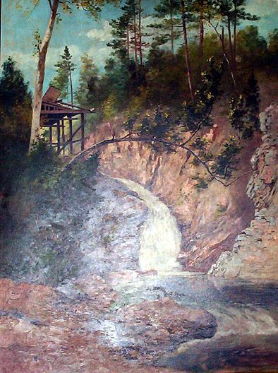 (Rocky Creek and Observation Deck), (painting), Oil On Canvas by Von Luerzer (1851-1913)