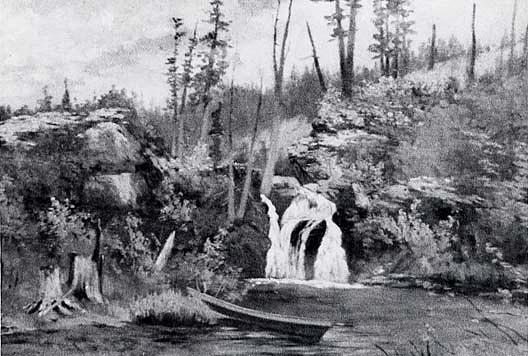 Waterfall, (painting), Oil by Von Luerzer (1851-1913)