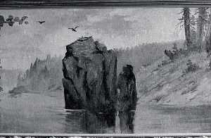 Von Luerzer - Panorama of Lake Coeur d'Alene, Idaho Eagle Rock, Castle Crag, (painting)