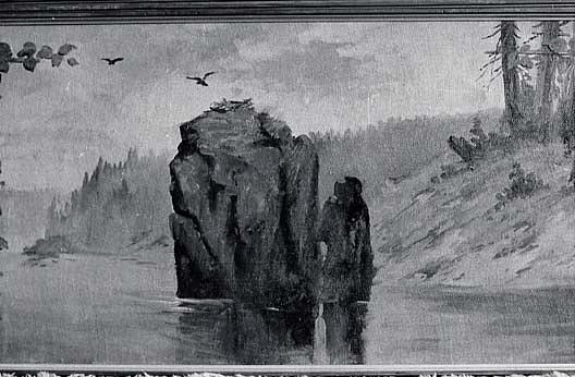 Panorama of Lake Coeur d'Alene, Idaho Eagle Rock, Castle Crag, (painting), Oil by Von Luerzer (1851-1913)