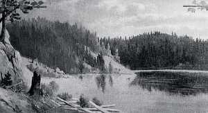 Von Luerzer - Panorama of Lake Coeur d'Alene, Idaho Powder Horn Bay, (painting)