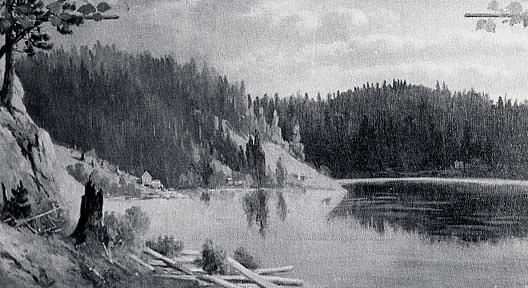 Panorama of Lake Coeur d`Alene, Idaho Powder Horn Bay, (painting) by Von Luerzer (1851-1913) | Art Reproduction | WahooArt.com