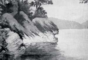 Von Luerzer - Panorama of Lake Coeur d'Alene, Idaho Tubs Hill, (painting)