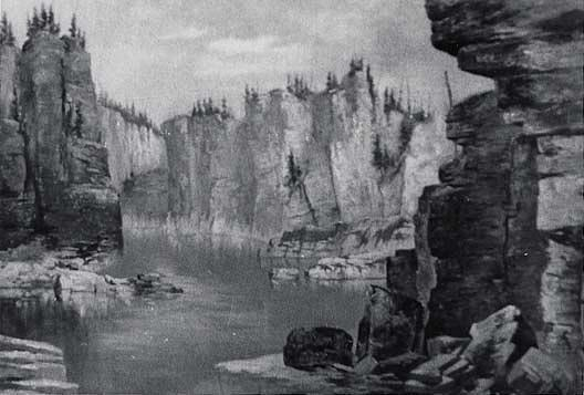 Cabinet Gorge, (painting), Oil by Von Luerzer (1851-1913)