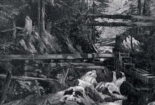 Flumes in Motherlode, (painting), Oil by Von Luerzer (1851-1913)