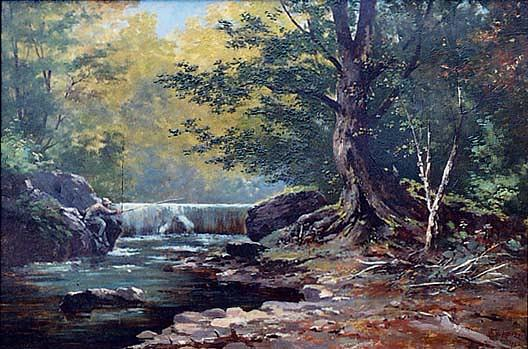 Trout Lake Falls, (painting), Oil by Von Luerzer (1851-1913)
