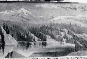 Von Luerzer - Panorama of Lake Coeur d'Alene, Idaho Nigger Head , (painting)