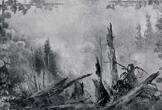 Panorama of Lake Coeur d'Alene, Idaho Forest Fire in North Idaho Woods, (painting), Oil by Von Luerzer (1851-1913)