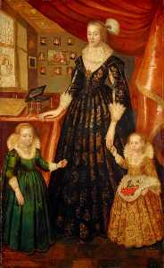 George Jamesone - Anne Erskine (d.1640), Countess of Rothes, Wife of the 6th Earl of Rothes, with her Daughters, Lady Margaret Leslie (1621–1688) and Lady Mary Leslie (b.1620)