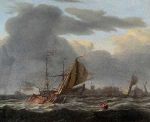 Ludolf Backhuysen - A Warship at Anchor in a Rough Sea