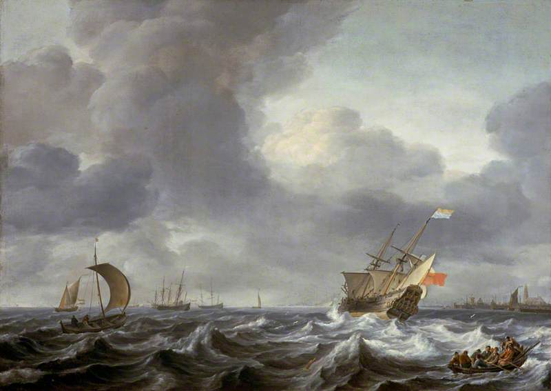 Shipping in a Choppy Sea, 1663 by Ludolf Backhuysen (1630-1708, Germany) | Painting Copy | WahooArt.com