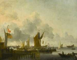 Ludolf Backhuysen - A Dutch Harbour with Numerous Figures, a Man of War Firing a Salute beyond