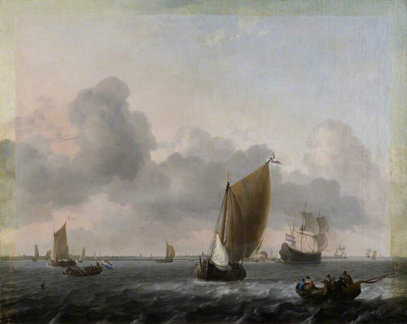 Marine, Choppy Sea, 1661 by Ludolf Backhuysen (1630-1708, Germany) | Famous Paintings Reproductions | WahooArt.com