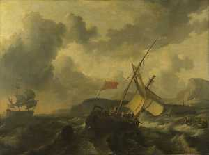 Ludolf Backhuysen - An English Vessel and a Man of war in a Rough Sea off a Coast with Tall Cliffs