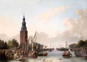 Ludolf Backhuysen - Soldiers of the Dutch East India Company Embarking at the Montelbaans Tower, Amsterdam