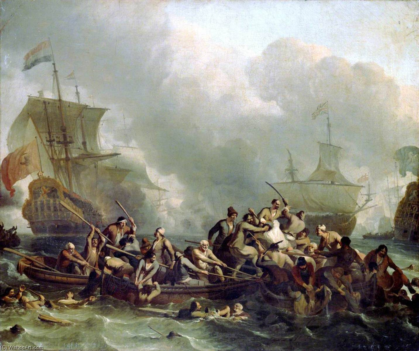 The Battle of Texel, 11 August 1673, 1685 by Ludolf Backhuysen (1630-1708, Germany) | Museum Quality Reproductions | WahooArt.com