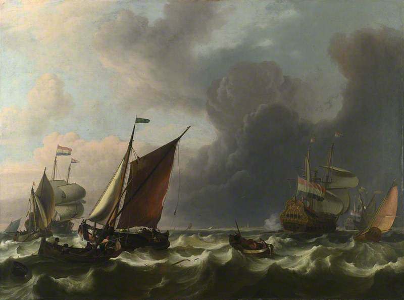 Dutch Men of war and Small Vessels in a Fresh Breeze off Enkhuizen, 1683 by Ludolf Backhuysen (1630-1708, Germany) | Painting Copy | WahooArt.com