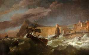 Ludolf Backhuysen - The Foundering of the 'Coronation' 90 Guns at Rame Head