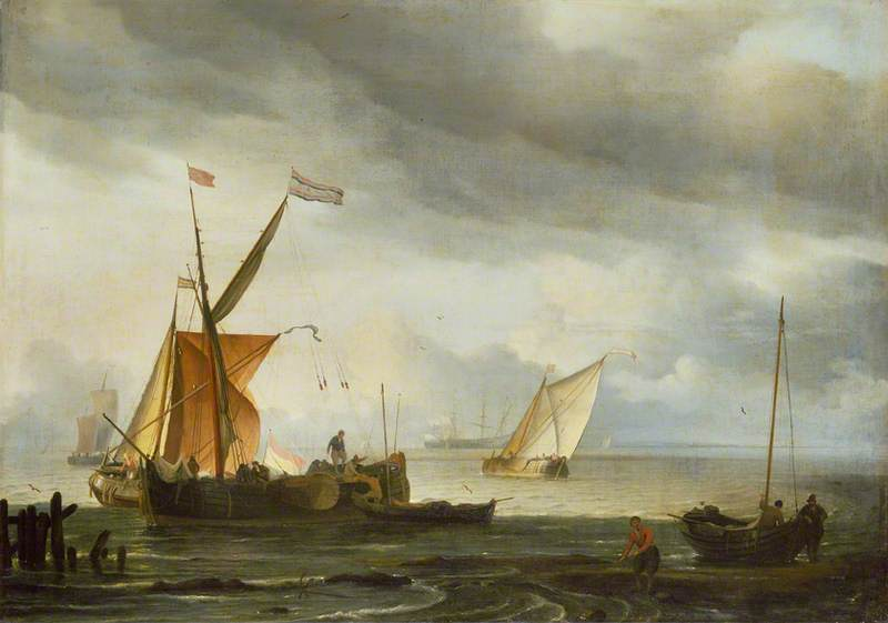 Dutch Craft Lying Close Onshore, 1697 by Ludolf Backhuysen (1630-1708, Germany) | Art Reproduction | WahooArt.com