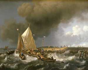 Ludolf Backhuysen - Boats in a Storm