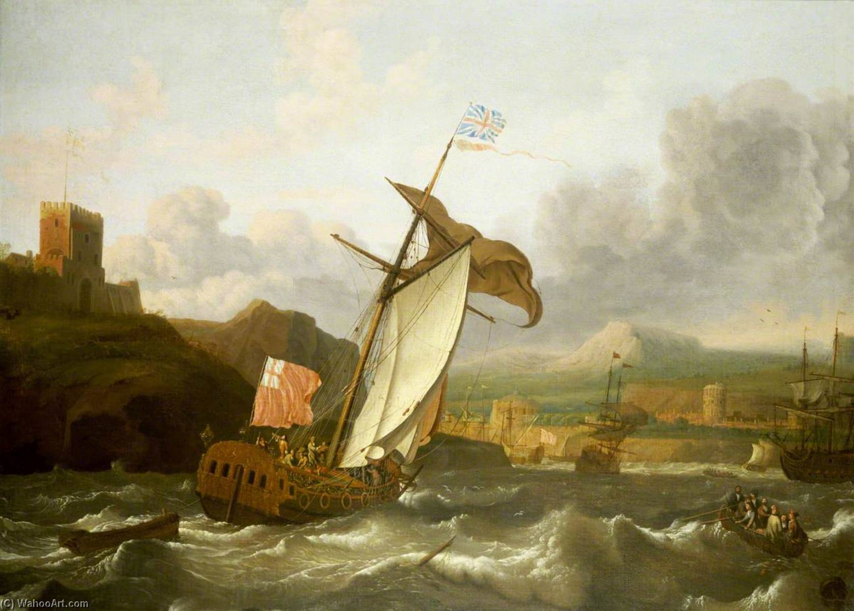 An English Yacht Sailing into Plymouth by Ludolf Backhuysen (1630-1708, Germany) | Famous Paintings Reproductions | WahooArt.com
