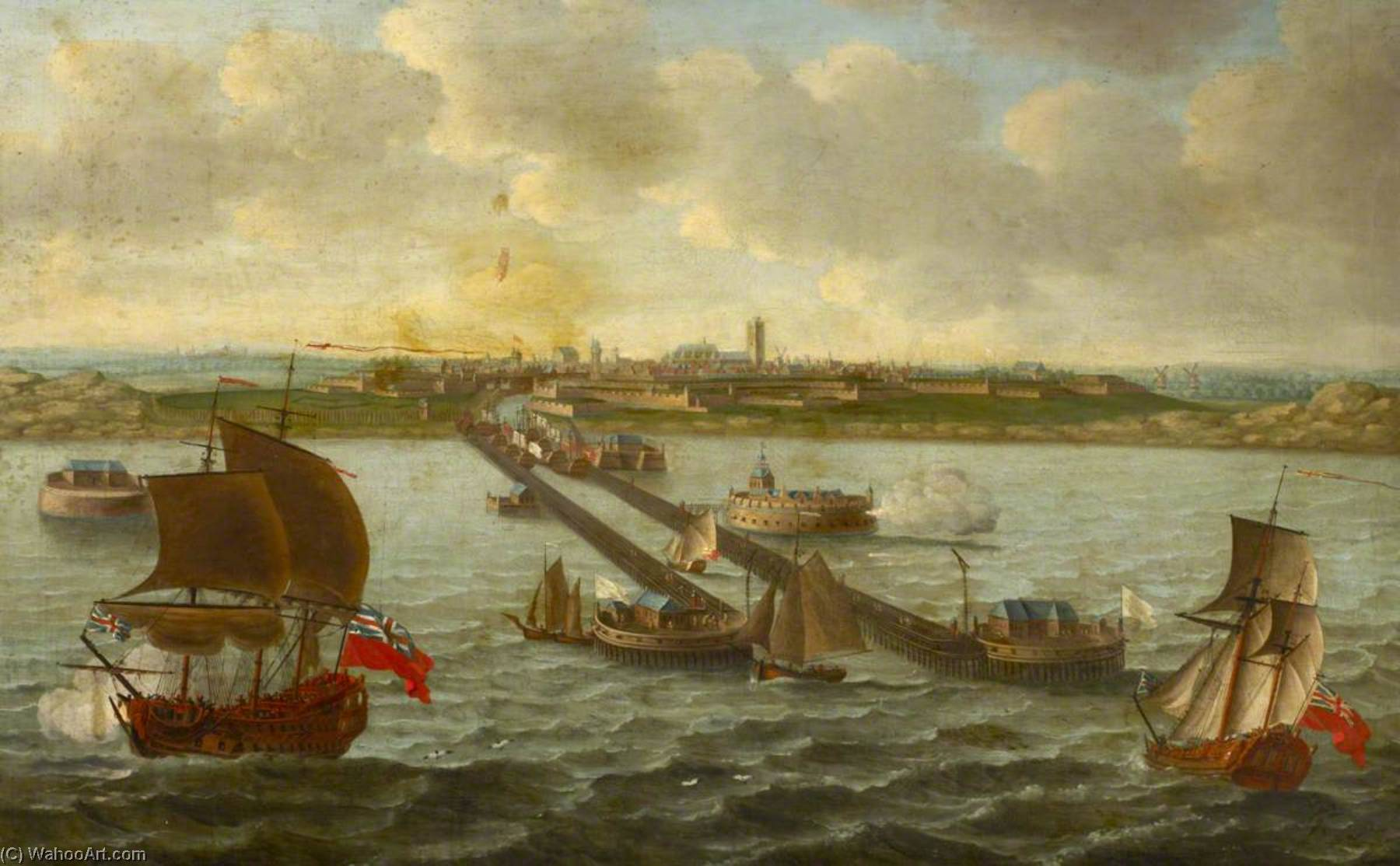 View of Dunkirk in the Seventeenth Century by Ludolf Backhuysen (1630-1708, Germany) | Art Reproduction | WahooArt.com
