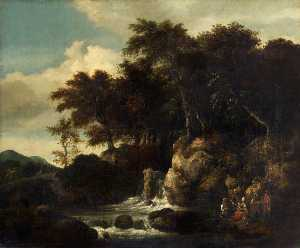 Thomas Robson - A Landscape with a Waterfall (copy after Jacob van Ruisdael)