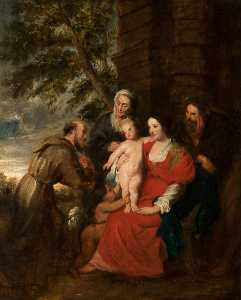 Thomas Robson - Holy Family with Saint Elizabeth and Saint Francis (copy after Peter Paul Rubens)