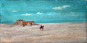 Caroline Emily Gray Hill - Desert Landscape with a Remote Building, Figures and Horses