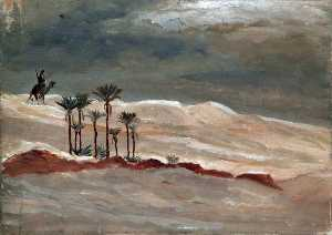 Caroline Emily Gray Hill - Desert Landscape with a Camel Rider, Palm Trees and Stormy Sky